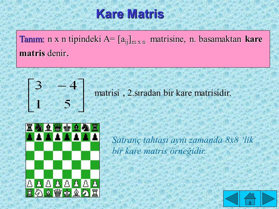 Kare Matris Tanım: n x n tipindeki A= [aij]m x n matrisine, n. basamaktan kare matris denir. matrisi , 2.sıradan bir kare matrisidir.